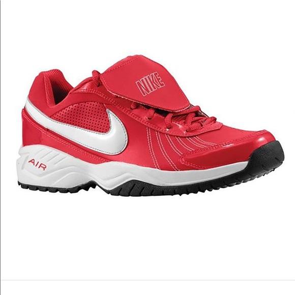 NIKE Red Diamond Shoes Air Turf Baseball 5Y 6bf7gy